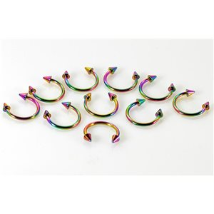 10 2 circular piercing spikes rainbow d1.2mm L10mm surgical steel 68920