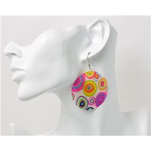 1p Boucles Oreilles en nacre naturelle Collection Fashion Design 69608