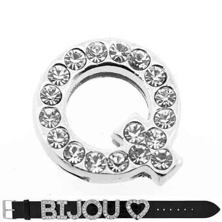 Initial Full Rhinestone Bracelet 20mm to 18mm name Letter Q 69217