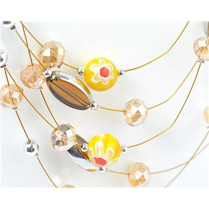 suspension necklace adornment 5 ranking Murano style faceted beads 71136